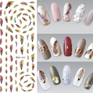 DS262 Design Water Transfer Nails Art Sticker Brown Yellow Feathers Fashion Nail Wraps Sticker Watermark Fingernails Decals
