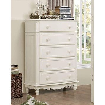 Wooden Five Drawer Chest With Knob Handles, White
