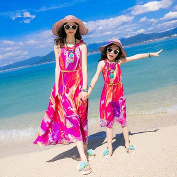 Family Look Clothing Mother Daughter Dresses Matching Mother And Daughter Clothes Mom And Daughter Bohemian Beach Dress 2017 New