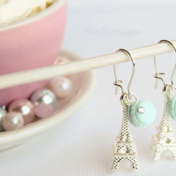 Pastel Mint Macaroons - Mint Macaron Earrings Silver Eiffel Tower - food jewelry