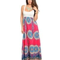 Pink Blue Yellow White Teal Independent Clothing Co. Boho Tank Racerback Maxi Paisley Neon Hot Aqua Floral Indian Small Maxi Dress 47% off retail