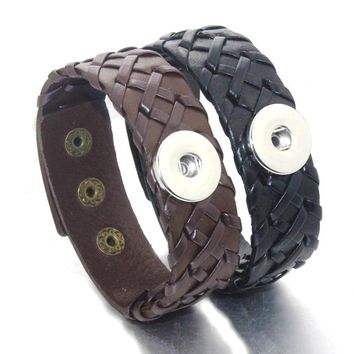 24CM Adjustable Snap Bracelet Vintage Weave Real Leather Bracelet Fit 18mm Snap Button Bracelet For Women Jewelry 9376