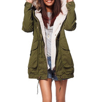 Military Style Fur Hooded Parka