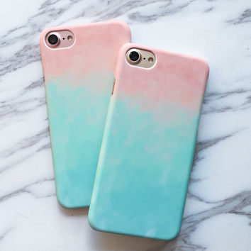 Fashion Colorful Gradient Case For iphone 7 Case For iphone7 7 PLus Phone Cases Cute Sweet Candy Color Graffiti Back Cover Capa -Girllove100