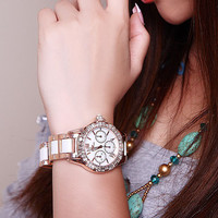 Luxury Lady's Watch White Ceramic Pearl Dial Rhinestone Pin Electronic Watch on Luulla