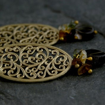 Gold Earrings ,Ethnic Gold Earrings ,Gold Lace Earrings ,Gold Lace Filigree Earrings , Gold Gemstone Earrings