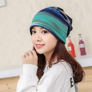 Windproof Sports Caps Women Running Caps Hats Winter Hood Warm Beanies Striped Skullies Scarf Hat Gym Yoga Tennis Caps