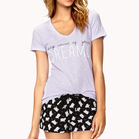 FOREVER 21 Dreamy Counting Sheep PJ Set Purple/Black Medium
