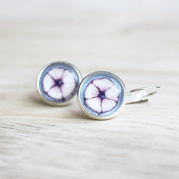 Mallow Blossom // pastel cabochon earrings silver, rosy, light blue - 14 mm - summer earrings for girls, women
