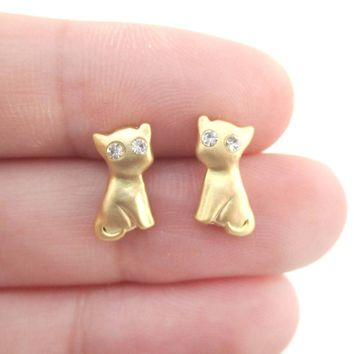 Adorable Kitty Cat Animal Shaped Stud Earrings in Gold with Rhinestones | DOTOLY