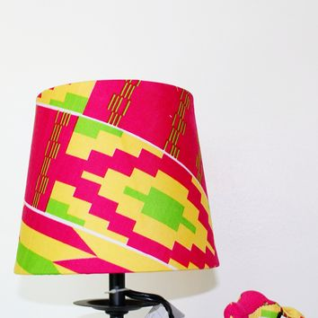 African print lampshade, Kente cloth lampshade, Home decor -Pink kita