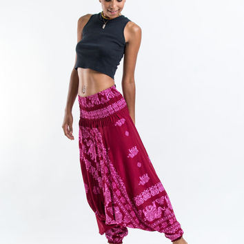 Elephant Raja Jumpsuit Harem Pants in Red