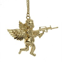 Womens Angel Baby carry Gun Stuff Pendant Long Necklace