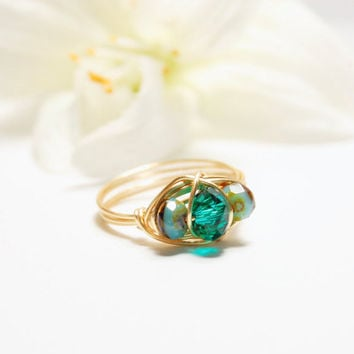 Wire Wrapped Ring - Teal Ring - Wire Ring - Wire Wrapped Crystal Ring - Teal Wire Wrapped Ring - Teal Wire Ring - Boho Ring - Boho Jewelry