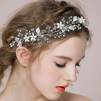 Golden Wedding Headband Hand Wired Flower Hair Tiara Goddness Wreaths Freshwater Pearl 3A crystal Beads Hair Jewelry NL012