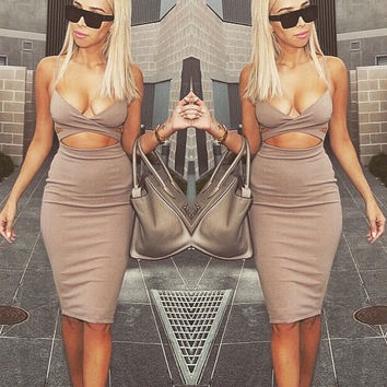 Beige Strappy Cut-Out Cropped Top and Midi Skirt Set