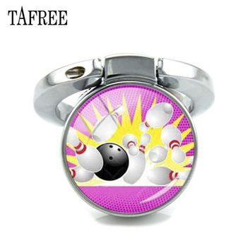 Family Friends party Board game TAFREE Keyring Finger Fing For Phone Bowling Ball Art Picture Glass Dome Expanding Desk Phone Holder 180 Degrees Fold Gift SP903 AT_41_3