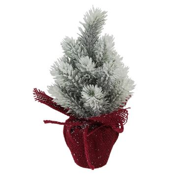 """8.5"""" Flocked Mini Pine Christmas Tree with Berries in Red Burlap Covered Vase"""