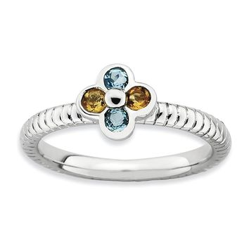 Sterling Silver , Citrine and Blue Topaz Stackable 7mm Flower Ring