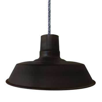 "Barn 14"" Metal Shade Pendant Light- Dark Sweater Cord"
