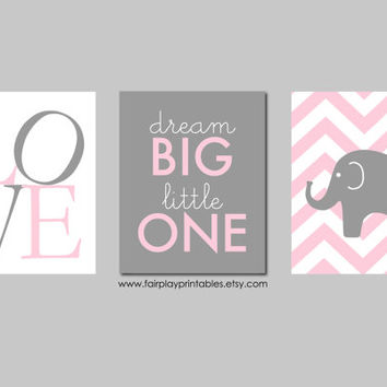"Pink and Grey Nursery Elephant Nursery Dream Big Little One Baby Girl Nursery Pink and Gray Nursery Art INSTANT DOWNLOAD 8""x10"""