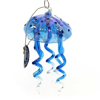 Holiday Ornaments Dangle Jelly Fish Glass Ornament