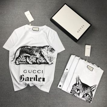 """""""Gucci Firenze"""" Unisex Casual Fashion Retro Sketch Tiger Print Letter Short Sleeve Couple T-shirt Top Tee"""