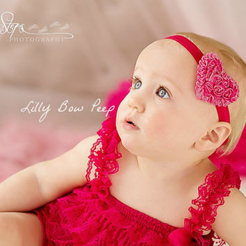 Valentines Day Baby Girl Outfit-Pink Lace Petti Romper & Heart Headband SET-Preemie Clothes-Newborn Baby Clothing-Toddler Dress Up-Child