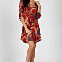 Mandala Print Shift Dress