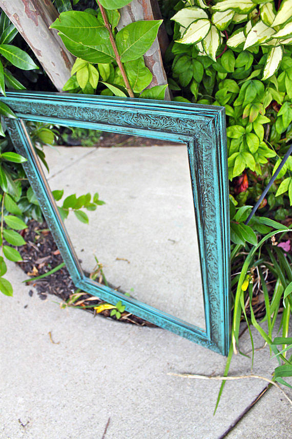 Turquoise Mirror /Dark Walnut Stain Accent / Distressed /Shabby Chic / Upcycled