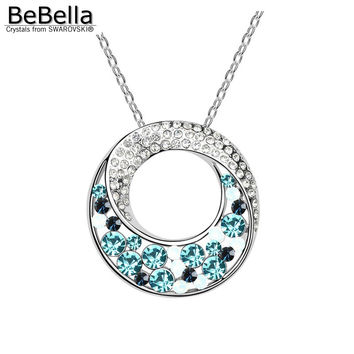 BeBella beautiful crystal circle pendant necklace Made with Swarovski Elements for Valentine's Day gift