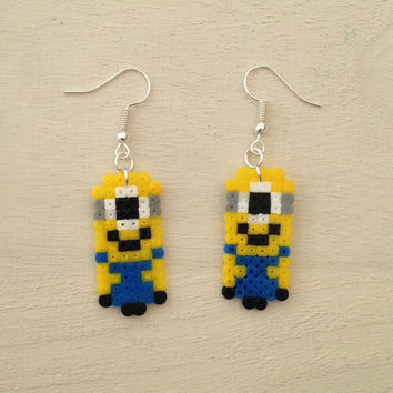 Despicable Me inspired Minion Perler Bead Earrings