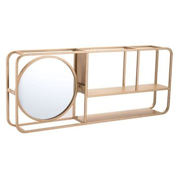 A11498 Shelf With Mirror Gold