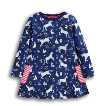 New designed baby girls dresses kids spring autumn cartoon dress with printed unicorn cute animals top quality girls clothing