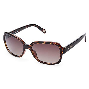 Fossil - Dunedrift Rectangular Dark Havana Sunglasses