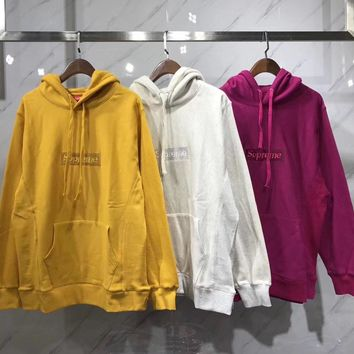 Supreme Woman Men Fashion Embroidery Hoodie Top Sweater Pullover3