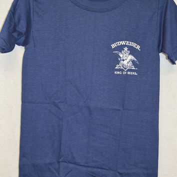 Vintage BUDWEISER BEER T-shirt Old Stock! Sz-S Shirt