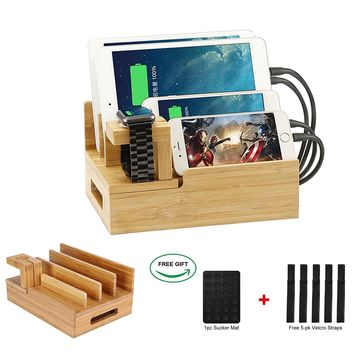 Bamboo Desktop Charger Station ,Coeuspow Wood Multi-device Charger Organizer Station Dock for iPhone ,iPad,Smartphone,Tablets and Apple Watch ,Handmade & Eco-Friendly