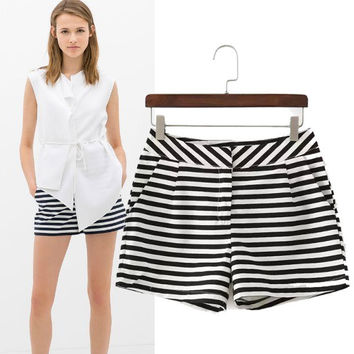 Stylish With Pocket High Rise Stripes Pants Shorts [6048010497]