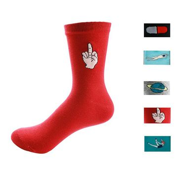 Finger, Pill, Planet & More - Mid-high Socks Funny Crazy Cool Novelty Cute Fun Funky Colorful