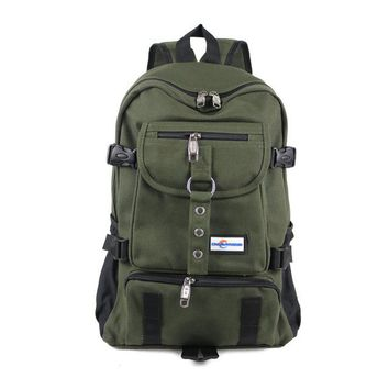 Arcuate Shoulder Strap Canvas Designer Backpack