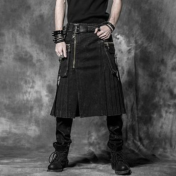 Punk Men Scottish Kilts Casual Pants with Two Pockets Steampunk Gothic Popular England Style Black Skirts