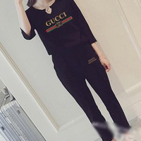 """""""Gucci"""" Women's Leisure  Fashion   Letter Printing Long Sleeve Cropped Trousers Couple Two-Piece Casual Wear"""