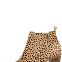 Dr. Scholl's London Tan and Black Leopard Pony Fur Booties