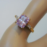 Lovely Signed Emerald Cut Amethyst Cubic Zirconia Ring