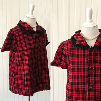 Tina blouse // 1950s RARE maternity top red & black corduroy swing pinup clothing // wingtip cuff sleeves // size L 40 bust