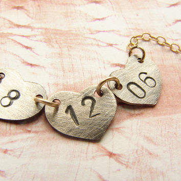 Personalized Date Necklace, heart charm anniversary date