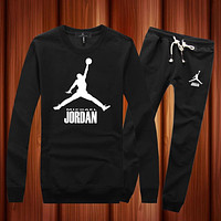 Jordan Woman Men Long Sleeve Shirt Top Tee Pants Trousers Set Two-Piece Sportswear