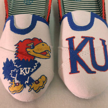 KU Jayhawks Hand Painted Shoes
