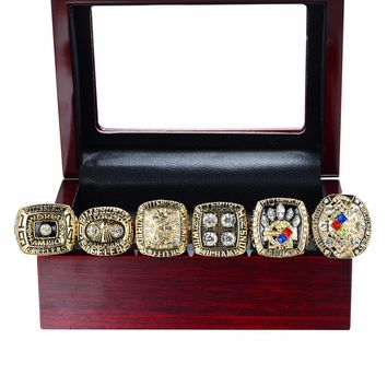 Wooden Box With Replica Pittsburgh Steelers Super Bowl Set(1974/1975/1978/1979/2005/2008) Championship Ring Size 11